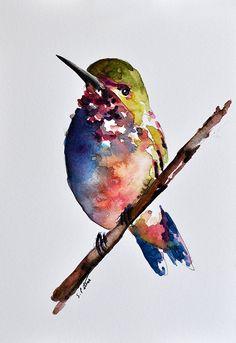 ORIGINAL Watercolor Bird Painting Colorful by ArtCornerShop