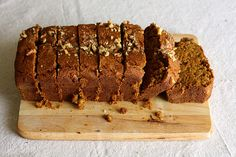 Pumpkin Walnut Bread by joy the baker.  Made several edits to this recipe and it turned out amazingly. Replaced the water and white sugar with 1/3 c more of maple syrup, switched the wheat flour with spelt and 1 cup of oats, switched the measurements of baking soda and powder and I didn't add any allspice or cloves. You can also replace some of the oil with more pumpkin. It was devoured super quickly.