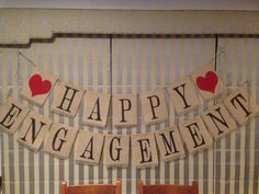 Happy Engagement Banner in burlap / hessian. Handmade by Mum and I. Rustic theme. For Sale!