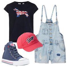 Il setter inglese  outfit Ragazza (12-14 anni. La salopette in jeans blu  lavaggio ... 0dd30c41841