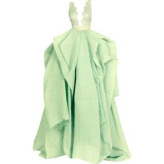 Rami Kadi - edited by mlleemilee ❤ liked on Polyvore featuring dresses, gowns, long dresses, tops, green, long green evening dress, green gown, green evening gown and green evening dress