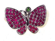 Ruby Russian Diopside Sterling Silver Spinning Butterfly Ring Size 7 .1.5 carat #Unbranded #SolitairewithAccents #Birthday