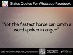 Not the fastest horse can catch a word spoken in anger.