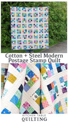 Cotton + Steel modern Postage Stamp Quilt