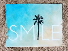 SMILE Palm Tree Wall Art Hand Painted Watercolor Print Perfect Beach Home Decor