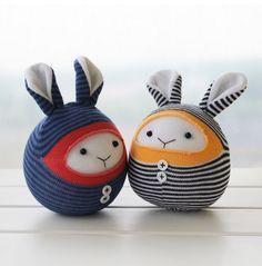 Kawaii Cute Round Sock Bunnies, Sock Animals, Children-Friendly, Handmade Home Decor