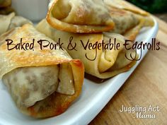 Baked Pork & Vegetable Eggrolls | www.jugglingactmama.com