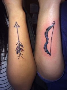 Matching bow and arrow tattoos by Devyn McDaniel  #tattoo #bowandarrow #cousins