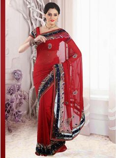 Cardinal Red #party_saree with sequins work