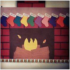 Christmas fireplace bulletin board.