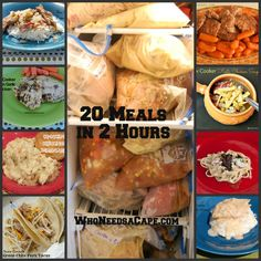 From freezer to crockpot ~ Two meals of each recipe = 20 meals made in two hours!  Recipes for following dishes, w/grocery list appended!  Lemon & Garlic Chicken, Chicken & Gravy, Fiesta Chicken Soup,     Pepper Steak, Cubed Steaks w/carrots, Balsamic Steak, Chicken & Dumplings, Marinated London Broil, Honey Romano Pork Chops, Green Chili Pork Tacos.