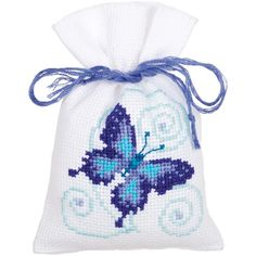 """Blue Butterflies Bags On Aida Counted Cross Stitch Kit-3.25""""X4.75"""" 18 Count Set Of 3"""