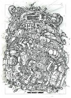 Author Aleksey Lubimov/Engine #алексейлюбимовбиомеханика #алексейлюбимов #стимпанк #дизельпанк #биомеханика #летающийгород #robot #steampunk #dieselpunk #alekseylubimov #biomechanical #lubimov