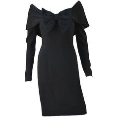 Pre-owned 1950's Mr. Blackwell Black Long Sleeve Wiggle Dress ($535) ❤ liked on Polyvore featuring dresses, cocktail dresses, day dresses, long sleeve zipper dress, black longsleeve dress, black zipper dress, couture dresses and black cocktail dresses