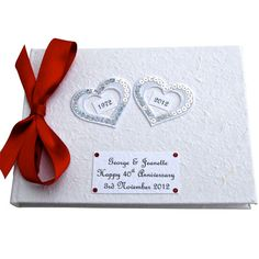 Custom Hearts 40th Anniversary Guest Book by dottiedesignsxx