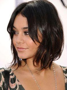 Vanessa Hudgens medium short hair asymmetrical bob chic hairstyle