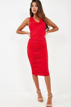 Mid weight stretch fabric Cowl neck Concealed back zip fastening Ruched detail Midi length Bodycon fit Polyester, Elastane Hand wash Model wears a size 8 and her height is Ruched Dress, Bodycon Dress, Cowl Neck, Stretch Fabric, Hot, Model, How To Wear, Dresses, Fashion