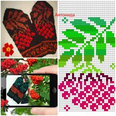 Vintage Cross Stitches, Knit Mittens, Knitting Charts, Chrochet, Diy And Crafts, Crochet Patterns, Photo Wall, Gloves, Threading