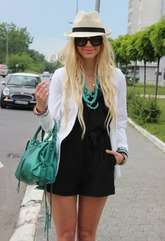 Romper  , H & M Jumpsuit, Forever21 Blazer, Balenciaga Bag, Prada Sunglasses