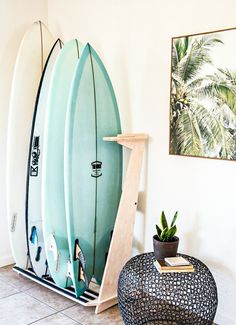 Surfboard racks support our beloved surfboards so they deserve to be awesome. Here are 12 of the coolest surfboard racks we've ever seen. Surfboard Storage, Surfboard Rack, Surfboard Decor, Surf Decor, Surf Style Decor, Foam Surfboard, My New Room, My Room, Decoration Surf