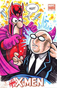 Muppets/X-Men mash-up art. Because why not. Here are Beaker and Bunson as Magneto and Professor X, respectively.