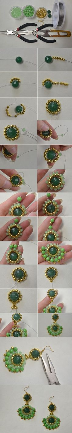 Tutorial on How to Make Gold and Green Round Drop Earrings with Gemstone Beads ~ Seed Bead Tutorials