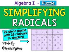 Algebra 1 - Rational Exponents Puzzle Task Cards - Set of ...