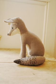 Grey fox / soft sculpture / textile art / made to by willowynn