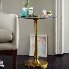 """Molded Brass Side Table #westelm, 20' diam, 22"""" high, online only $299"""