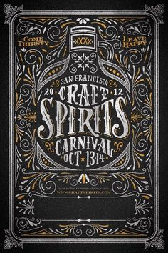 Come Cocktail at the Craft Spirits Carnival in San Fransico!Craft Spirits Carnival in SF! Font Design, Lettering Design, Design Layouts, Brochure Design, Typography Inspiration, Graphic Design Inspiration, Chic Type, Plakat Design, Vintage Lettering