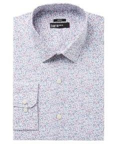 Bar Iii Men's Slim-Fit Stretch Easy-Care Burgundy White Garden Floral Print Dress Shirt, Created for Macy's - Burgundy 1