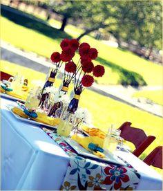 picnic picnic, color schemes, color combos, picnic galleri, lemonad parti, company picnic, paper flowers, tablescapecompani picnic, picnic collect