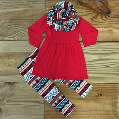 Red tribal girls boutique outfit with infinity scarf. 3 piece girls outfit is top quality at at its lowest price ever! Get a size up for next fall/winter! Baby Kids Clothes, Toddler Girl Outfits, Toddler Fashion, Kids Outfits, Kids Fashion, Cute Outfits, Kids Clothing, Fashion Clothes, Scarf Outfits