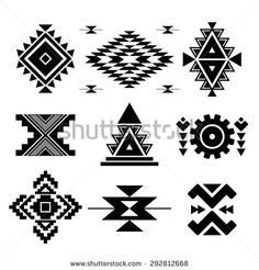 Similar Images, Stock Photos & Vectors of Beautiful Set of Geometric Ethnic Patterns. Vector Mexican and Aztec Decor Elements. Trendy Isolated Backgrounds, Icons and Logotypes. Ethnic Patterns, Loom Patterns, Beading Patterns, Cross Stitch Patterns, Native American Patterns, Native American Design, Native Design, Motif Navajo, Navajo Pattern