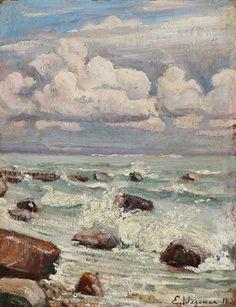 SOLGT. Einar Wegener: Kystparti en skyet dag. Sign. E. Wegener 1913. Olie på…