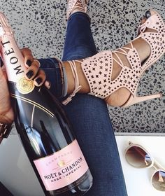 Perfect pink heels complimented by pink champagne.