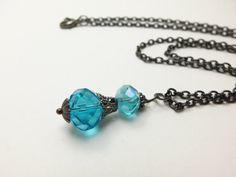 Gunmetal Necklace Blue Beaded Jewelry Gunmetal Jewelry Victorian Necklace