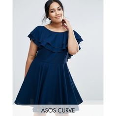 ASOS CURVE Soft Ruffle Low Back Skater Mini Dress ($40) ❤ liked on Polyvore featuring dresses, blue, plus size, women's plus size dresses, short dresses, plus size mini dresses, short skater dress and mini dress