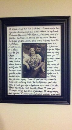 The picture mat has the lyrics from our first dance.  I have linked the picture to the original website.