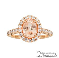 ROSE GOLD OVAL HALO WITH PADPARADSCHA PINK SAPPHIRE RING by Princess Bride Diamonds in Huntington Beach, Ca
