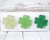 Strung On Nails by strungonnailsshop Nail String Art, Quilled Paper Art, St Patricks Day, St Pattys, Wood Signs, Craft Projects, Etsy Seller, Creations, Four