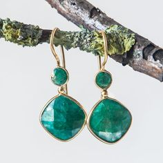 Emerald Gold Double Stone Drop Earring