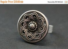 EASTER SALE Sun Mandala Ring. Silver Sun Ring. Antiqued Silver Button Ring. Adjustable Sizing. Handmade Jewelry. by StumblingOnSainthood from Stumbling On Sainthood. Find it now at http://ift.tt/1U3dTeU!