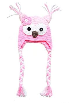 Hekla rosa ugle lue til baby og barn. | crochet hat for kids