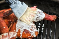 Smoked Chicken with Big Bob Gibson's Alabama White Barbecue Sauce Recipe :: The Meatwave Alabama White Sauce, White Bbq Sauce, White Sauce Recipes, Barbecue Sauce Recipes, Smoker Recipes, Grilling Recipes, Traeger Recipes, Bbq Sauces, Smoked Chicken