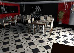 restaurant noir et blanc avec une touche de rouge. sol de chez Ornamenta