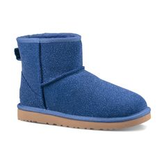 UGG® Australia UGG® Night Sky Classic Mini Serein Suede Slipper Bootie ($90) ❤ liked on Polyvore featuring shoes, boots, ankle booties, ankle boots, ugg® bootie, suede ankle boots, suede booties and short suede boots