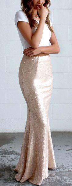Blush sequin maxi skirt
