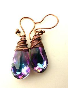 Purple bling.  Antiqued Copper Wire Wrapped and violet purple crystal earrings. Swarovski Teardrop Glass and copper jewelry