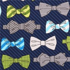 blue bow tie fabric Robert Kaufman Fox and the Houndstooth